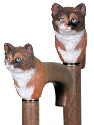 Hand Carved Cat And Horse Head Walking Stick Walking Cane